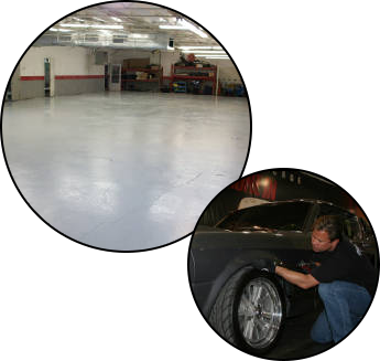 Garage Interior & Man Inspecting Vehicle
